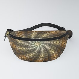Shiny Spiral, Modern Abstract Fractal Art Pattern Design Fanny Pack