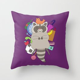 Happy Racoon Throw Pillow