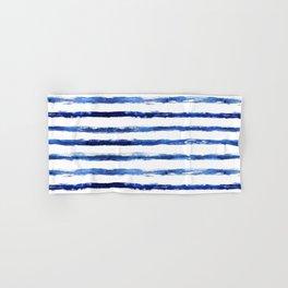 Blue grungy stripes Hand & Bath Towel
