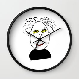 Man with frizzy hair Wall Clock