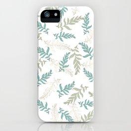 Modern elegant mint green gold watercolor foliage iPhone Case