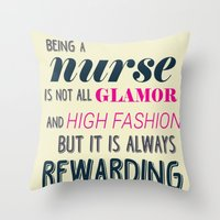 nurse Throw Pillows featuring NURSE by I Love Decor