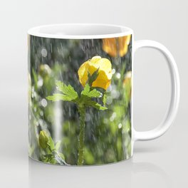 Trollius europaeus spring flowers in the rain Coffee Mug
