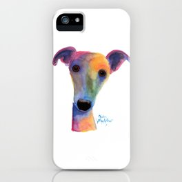 Nosey Dog Whippet Greyhound ' PANSY ' by Shirley MacArthur iPhone Case