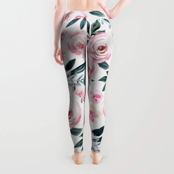 Floral Rose Watercolor Flower Pattern Leggings