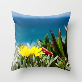 Fresh seaside plants and yellow flower, Ericeira, Portugal Throw Pillow
