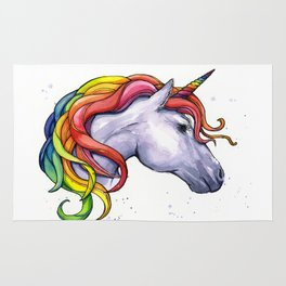 Rainbow Unicorn Watercolor Rug