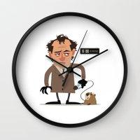 phil jones Wall Clocks featuring Phil by The Drawbridge