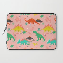 Jurassic Dinosaurs on Pink Laptop Sleeve