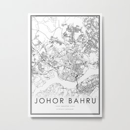 Johor Bahru City Map Malaysia White and Black Metal Print