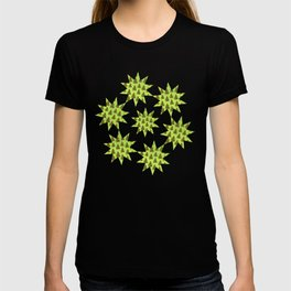 Sparkly Gold Christmas tree on abstract green paper T-shirt