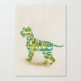 Schnauzer Dog Typography Art / Watercolor Painting Canvas Print