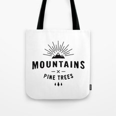 Mountains & Pine trees Tote Bag