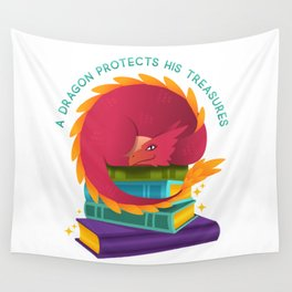 A Dragon Protects His Treasures (books) Wall Tapestry