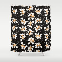 White And Orange Flowers On Black Shower Curtain