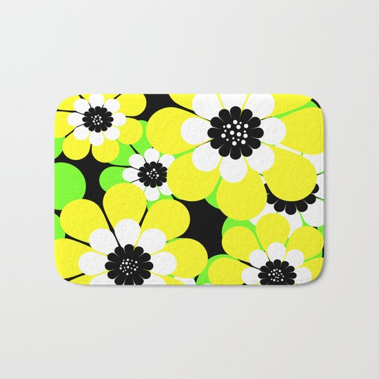 Yellow green bright floral pattern . Bath Mat