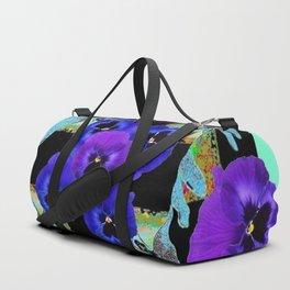 TURQUOISE DRAGONFLIES PURPLE PANSY FLOWERS BLACK ART Duffle Bag