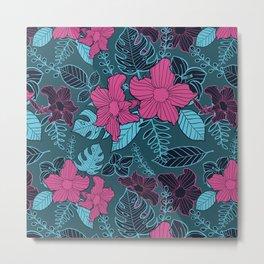 Modern Bold Jungle Floral Pattern Memphis Style Metal Print