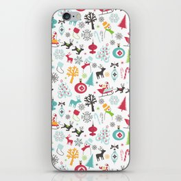 Retro Santa Holiday Christmas Pattern iPhone Skin