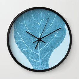 blue leaf Wall Clock