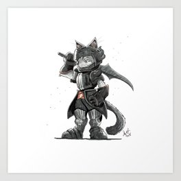 Black Knight Nubelung Cat Art Print