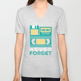 Never Forget | Retro VHS Cassette Tape Floppy Disk Unisex V-Neck