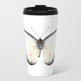 White butterfly species Appias lyncida Metal Travel Mug