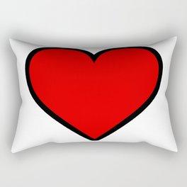 Bold Red Heart Shape Valentine Digital Illustration, Minimal Art Rectangular Pillow