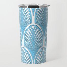 Art deco,deco,blue,white,elegant,chic,fan pattern, vintage,art nouveau,nelle epoque,victorian,beauti Travel Mug