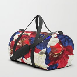 Red White Blue Floral Gems Duffle Bag