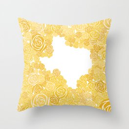 Texas Yellow Rose Outline Throw Pillow