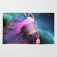 sassy Area & Throw Rugs featuring Sassy Unicorn by Jessica LeClerc Illustration