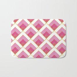 Pink and Gold Diamond Art Deco Pattern Bath Mat