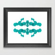 Cyan Ink Drop In Water Framed Art Print