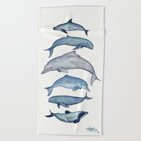 """Rare Cetaceans"" by Amber Marine - Watercolor dolphins and porpoises - (c) 2017, vaquita, maui's,... Beach Towel"