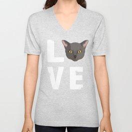 Love Burmese Cat Kitty Lover Unisex V-Neck