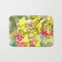 Winter Berries Watercolor Bath Mat