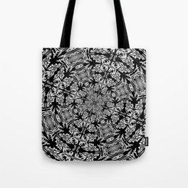 Fallen Leaves Black and White Kaleidescope Tote Bag