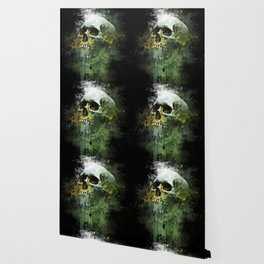 Splashed watercolor skull painting | let's get messy! Wallpaper