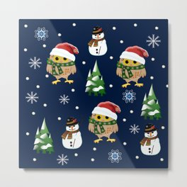 Cute Xmas pattern design with owls and snowmen Metal Print