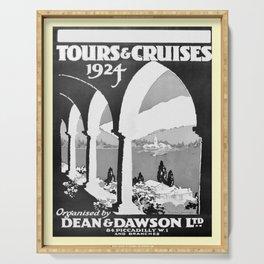 retro noir et blanc Tours and Cruises Serving Tray