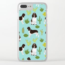 English Springer Spaniel southwest desert cactus pattern by pet friendly Clear iPhone Case