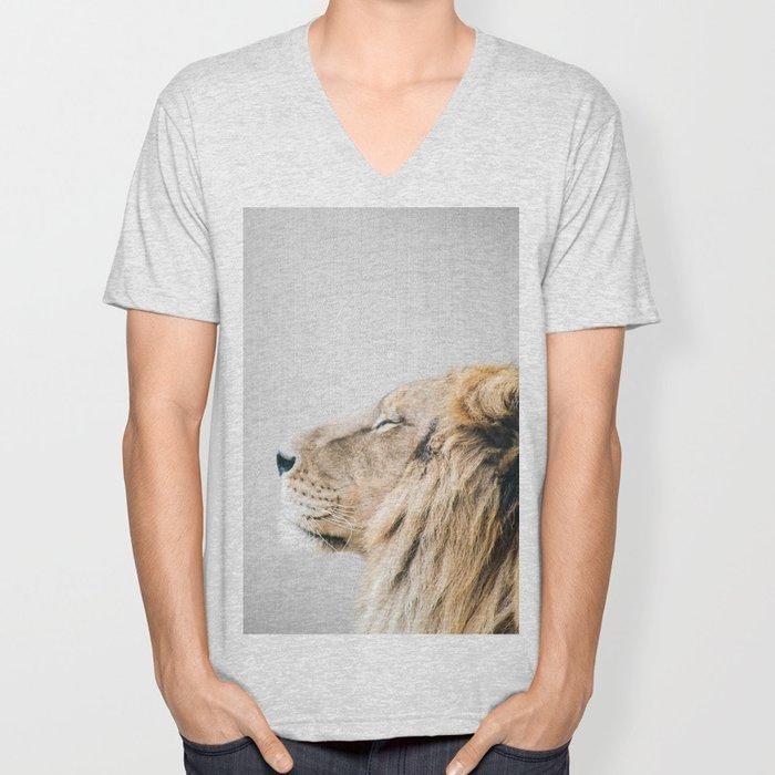 Lion Portrait - Colorful Unisex V-Neck