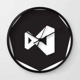 black visual studio logo sticker Wall Clock
