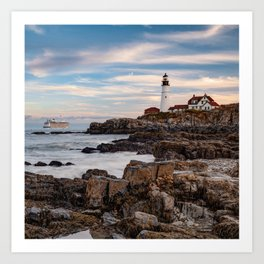Portland Head Light and Cruise Ship - Cape Elizabeth Maine 1x1 Art Print