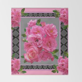VICTORIAN STYLE CLUSTERED PINK ROSES ART Throw Blanket