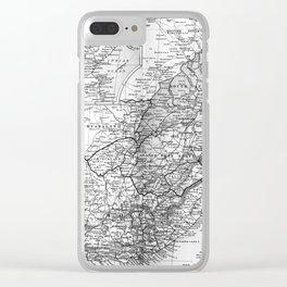 Vintage Map of South Africa (1892) BW Clear iPhone Case