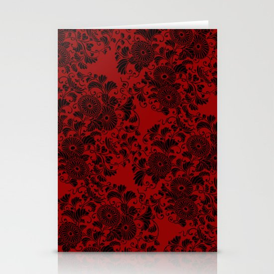 Chrysanthemum II Black on Red Stationery Cards