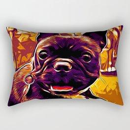 french bulldog basketball vector art late sunset Rectangular Pillow