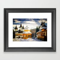 Winter at Slatioara Monastery, Moldova, Romania Framed Art Print
